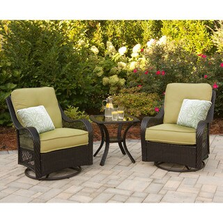 Hanover ORLEANS3PCSW Orleans Avocado Green Rattan 3-piece Outdoor Swivel Rocking Chat Set