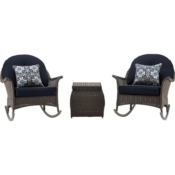 Hanover SMAR-3PC-NVY San Marino Navy Blue Aluminum 3-piece Outdoor Rocking Chat Set