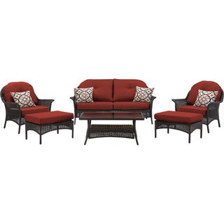 Hanover 'San Marino' Crimson Red Steel 6-piece Outdoor Patio Set