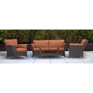 Hanover STRATHALLURE4PC Strathmere Allure Brown Steel Four-piece Outdoor Lounge Set