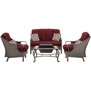 Hanover VENTURA4PCFP-RED Ventura Crimson Red Aluminum 4-piece Outdoor Conversation Set with Wood-burning Fire Pit