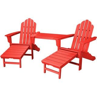 Hanover Rio Sunset Red Steel 3-piece Outdoor All-weather Adirondack Chat Set with Hideaway Ottoman