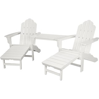 Hanover RIO3PC-OTT-WH Rio White Steel 3-piece Outdoor All-weather Chat Set with Hide-away Ottoman