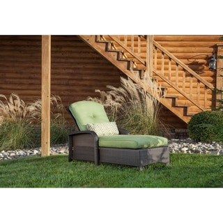 Hanover Strathmere Green Steel Outdoor Chaise Lounge Chair