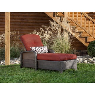 Hanover Outdoor Strathmere Crimson Red Chaise Lounge Chair