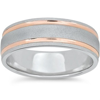 14k Rose & White Gold Two Tone 7MM Brushed Wedding Band