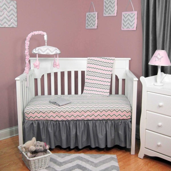 Pink and Grey Chevron 4-piece Baby Crib Bedding Set