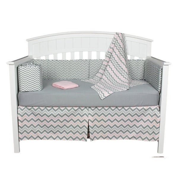 Pink and Grey Chevron Zig Zag 5-piece Baby Girl Crib Bedding Set with Bumper