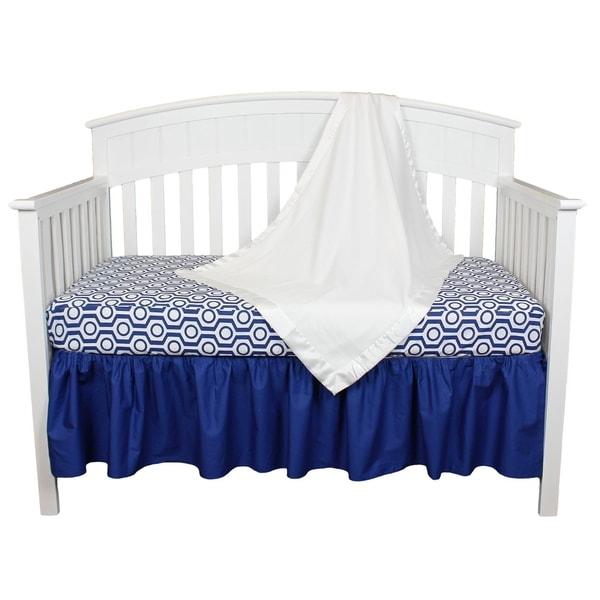Royal Blue/White Geometric Modern Design 3-piece Baby Crib Bedding Set