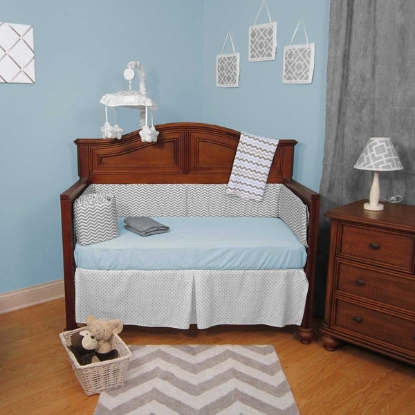 Blue and Grey Chevron Zigzag Dots 5-piece Baby Crib Bedding Set with Bumper