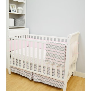 4-piece Pink Dots Zigzag Baby Girl Bedding Set