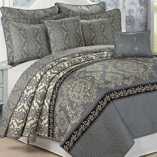 Serenta Mystic Printed Charcoal Grey 7-piece Quilt Set