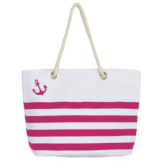 Leisureland Rope Handle Canvas Large Tote Bag Embroidered with Anchor