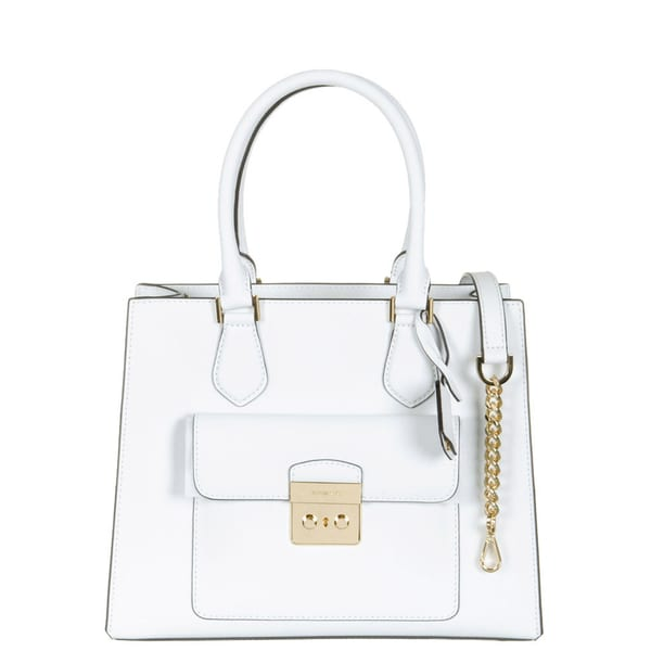 Michael Kors Bridgette Optic White Saffiano Leather Medium East West Tote Bag