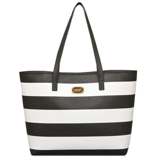 Michael Kors Jet Set Black/ White Stripe Travel Tote Bag