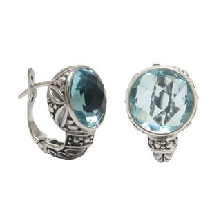 Handmade Sterling Silver Blue Topaz Omega Clasp Earrings (Indonesia)