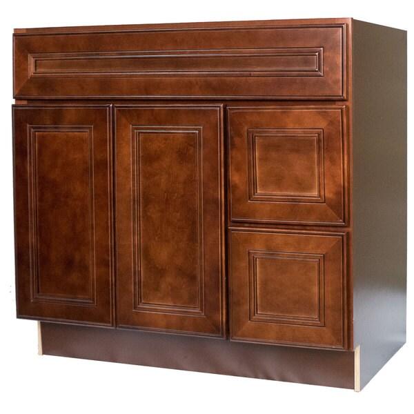 Everyday Cabinets 36 Inch Cherry Mahogany Leo Saddle