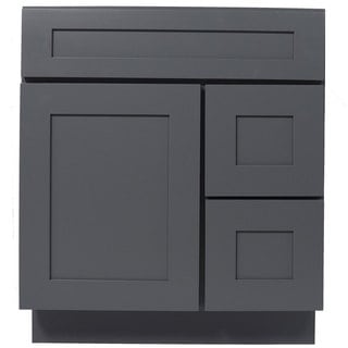 Everyday Cabinets Shaker Gray Wood 30-inch Single Sink Bathroom Vanity Cabinet