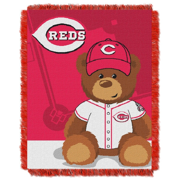 MLB 044 Reds Field Bear Baby Throw