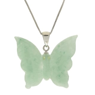 Gems For You Sterling Silver Carved Jade Butterfly With Peridot 18-inch Pendant