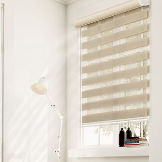 Chicology Beige Polyester Dual-layer Fabric Sheer Privacy Free-stop Cordless Zebra Roller Shade