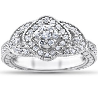 14k White Gold 3/4ct TDW Diamond Cluster Halo Vintage Engagement Ring (I-J, I2-I3)
