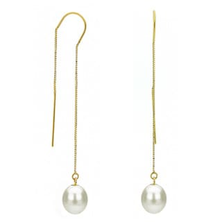 DaVonna 14k Yellow Gold 7-8mm White Cultured Freshwater Pearls Box Chain Threader Earrings