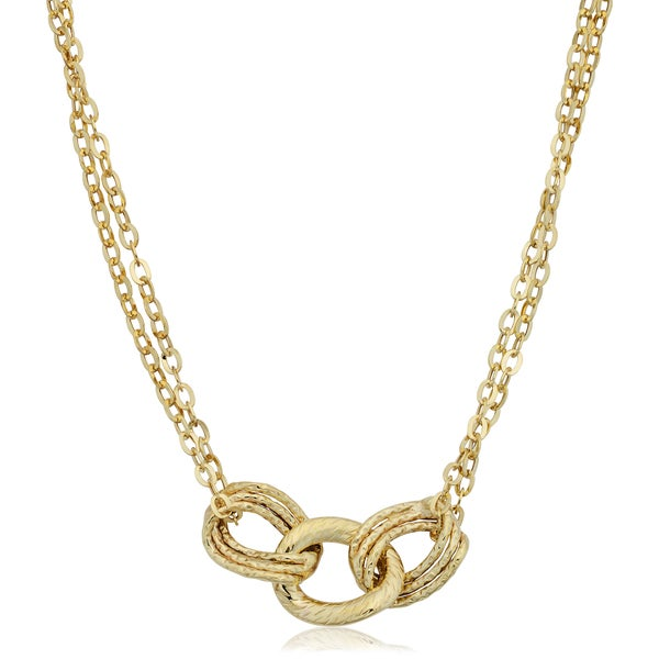 Fremada Italian 14k Yellow Gold Diamond-cut Links and Double Strand Necklace (18 inches) 19334701