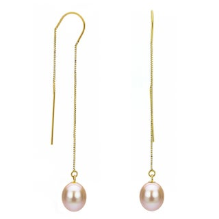DaVonna 14k Yellow Gold 7-8mm Pink Cultured Freshwater Pearls Box Chain Threader Earrings
