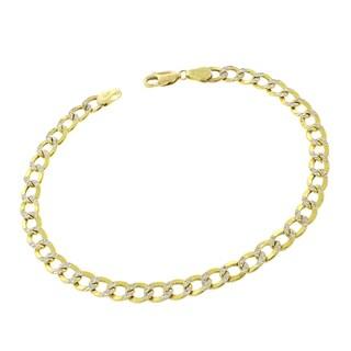 14k Gold 5mm Hollow Two-tone Cuban Curb Link Diamond-cut Pave Bracelet