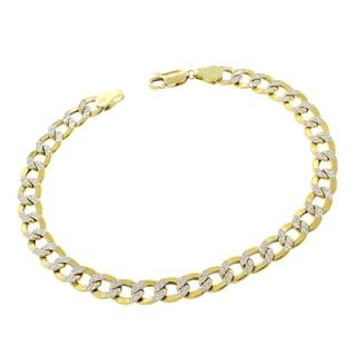 14k Gold 6.5mm Hollow Two-tone Cuban Curb Link Diamond-cut Pave Bracelet