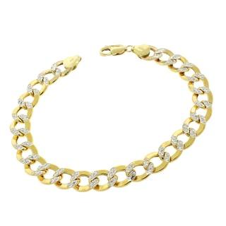 14k Gold 9.5mm Hollow Two-tone Cuban Curb Link Diamond-cut Pave Bracelet
