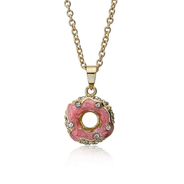 Molly Glitz Sparkle Sweet 14k Gold Plated Crystal Studded Marbleized Coral 14-inch 2-inch Donut Pendant Necklace