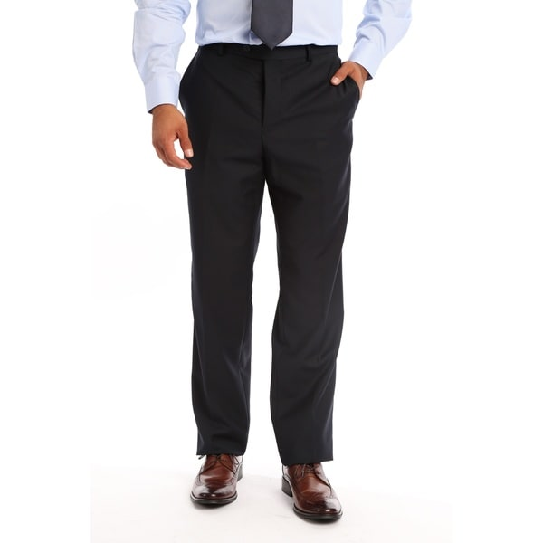 Verno Men's Blue Polyester, Viscose Slim Fit Flat-front Dress Pants