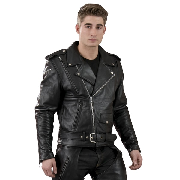 Men's Black Leather Vented Motorcycle Jacket With Side Lace 19335306