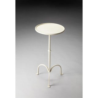 Butler Founders White Iron Pedestal Accent Table