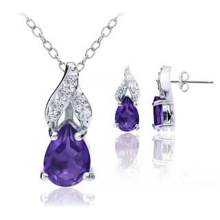 Glitzy Rocks Sterling Silver African Amethyst and White Topaz Swirl Teardrop Necklace Earrings Set