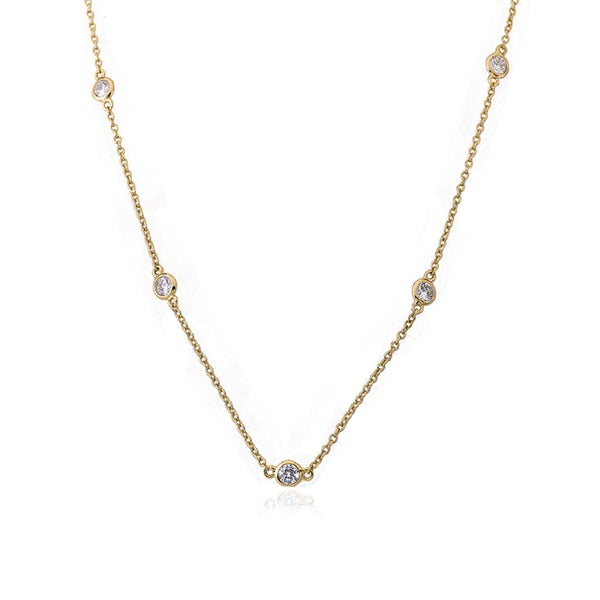 Riccova Radiance Bijou The Yard 14k Goldplated Cubic Zirconia 36-inch Retro Chain Necklace