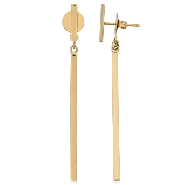 Fremada 14k Yellow Gold High Polish Bar Front Back Earrings