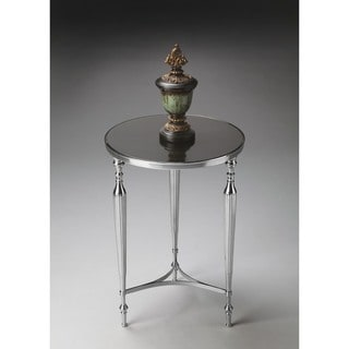 Butler Silver Nickel Finish Aluminum and Glass End Table