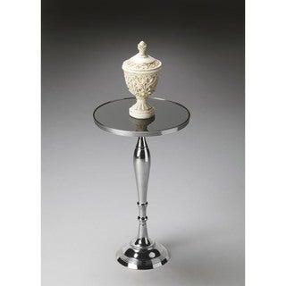 Butler Silver Nickel Finish Glass/Aluminum/Iron Pedestal Table