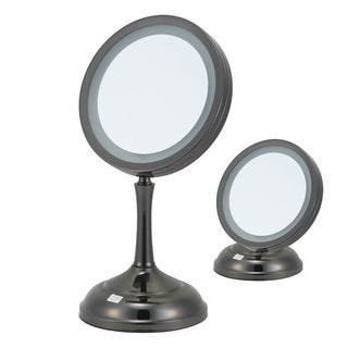 7x/1x Magnification 2-sided Dual Height Gun Metal Lighted Vanity Mirror