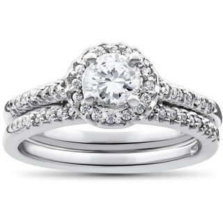 14k White Gold 7/8ct Round Halo Diamond Engagement Matching Wedding Ring Set (I-J, I2-I3)