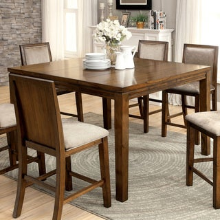 Furniture of America Berla Country Style Walnut Expandable Counter Height Table
