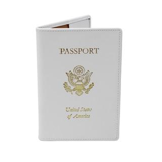 Royce Leather White Genuine Leather RFID-blocking Passport Travel Document Organizer