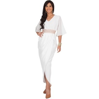 KOH KOH Women's Bridal V-neck Half Flutter Sleeve Maxi Dress