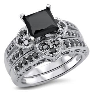 Noori 14k White Gold 2 1/4ct TDW Certified Black Princess-cut Diamond Heart Bridal Ring Set