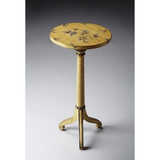 Butler Florence Yellow Wood Floral Pedestal Accent Table