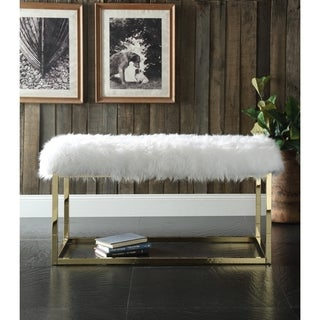 Iconic Home Marilyn Luxe Fur Seat Metal Frame Cube Ottoman Bench