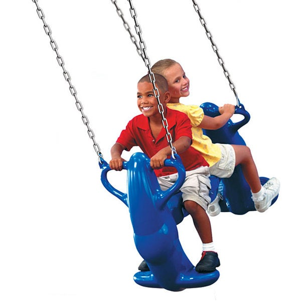 Swing-N-Slide Mega Rider Plastic Outdoor Swing Set with Mounting Guide (As Is Item)